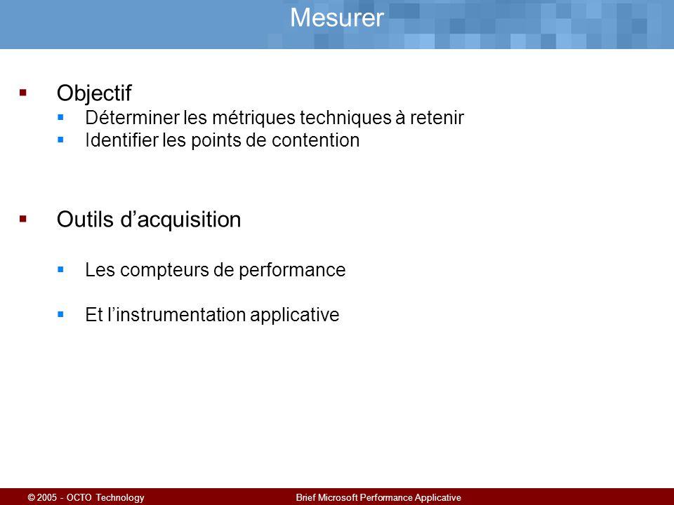© 2005 - OCTO TechnologyBrief Microsoft Performance Applicative Mesurer Objectif Déterminer les métriques techniques à retenir Identifier les points de contention Outils dacquisition Les compteurs de performance Et linstrumentation applicative