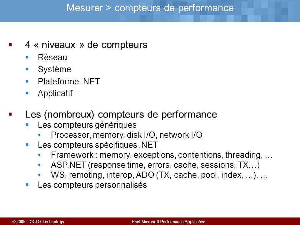 © 2005 - OCTO TechnologyBrief Microsoft Performance Applicative Mesurer > compteurs de performance 4 « niveaux » de compteurs Réseau Système Plateforme.NET Applicatif Les (nombreux) compteurs de performance Les compteurs génériques Processor, memory, disk I/O, network I/O Les compteurs spécifiques.NET Framework : memory, exceptions, contentions, threading, … ASP.NET (response time, errors, cache, sessions, TX…) WS, remoting, interop, ADO (TX, cache, pool, index,...), … Les compteurs personnalisés