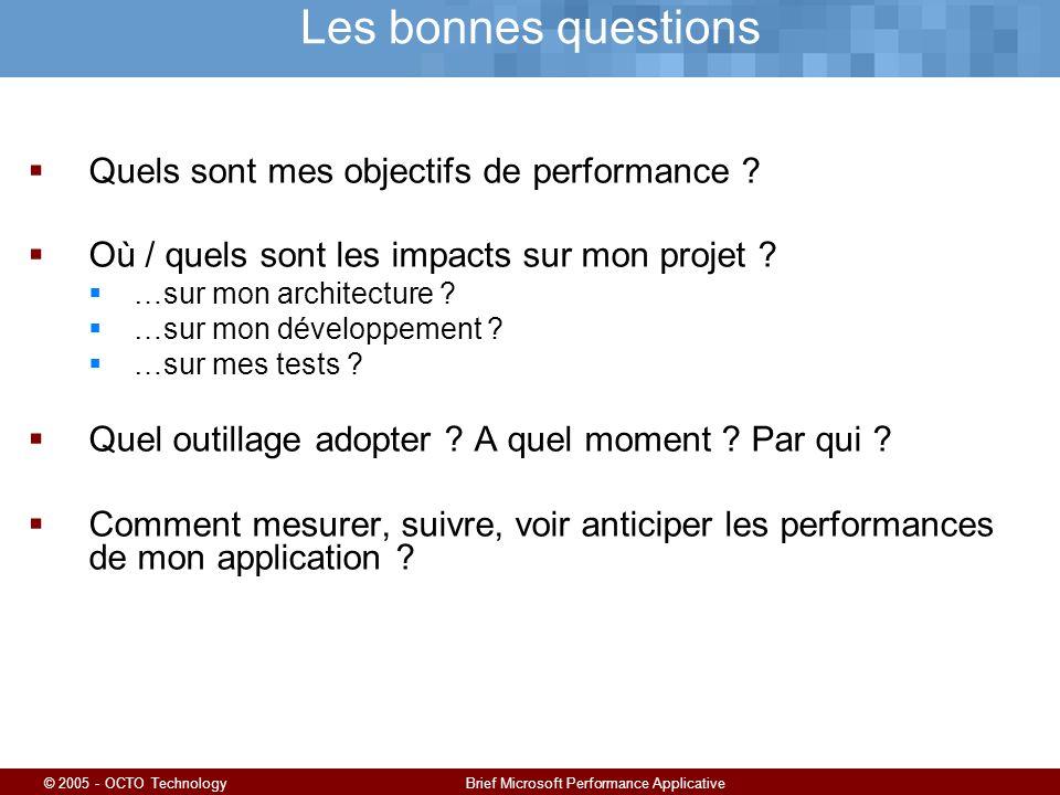 © 2005 - OCTO TechnologyBrief Microsoft Performance Applicative Les bonnes questions Quels sont mes objectifs de performance .