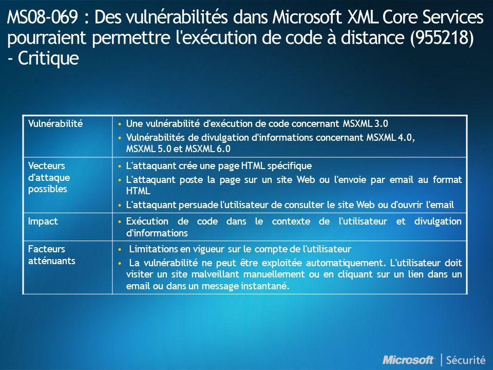 MS08-069 : Des vulnérabilités dans Microsoft XML Core Services pourraient permettre l exécution de code à distance (955218) - Critique VulnérabilitéUne vulnérabilité d exécution de code concernant MSXML 3.0 Vulnérabilités de divulgation d informations concernant MSXML 4.0, MSXML 5.0 et MSXML 6.0 Vecteurs d attaque possibles L attaquant crée une page HTML spécifique L attaquant poste la page sur un site Web ou l envoie par email au format HTML L attaquant persuade l utilisateur de consulter le site Web ou d ouvrir l email ImpactExécution de code dans le contexte de l utilisateur et divulgation d informations Facteurs atténuants Limitations en vigueur sur le compte de l utilisateur La vulnérabilité ne peut être exploitée automatiquement.