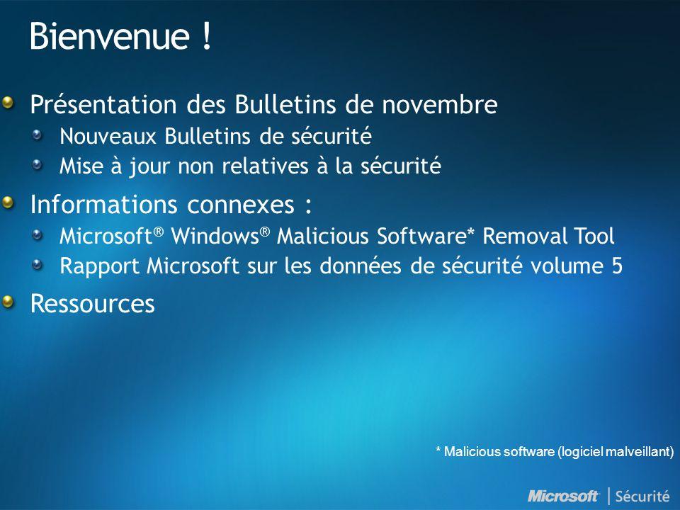 Bulletins de sécurité - novembre 2008 Résumé Nouveaux Bulletins de sécurité : Critique : 1 Important : 1