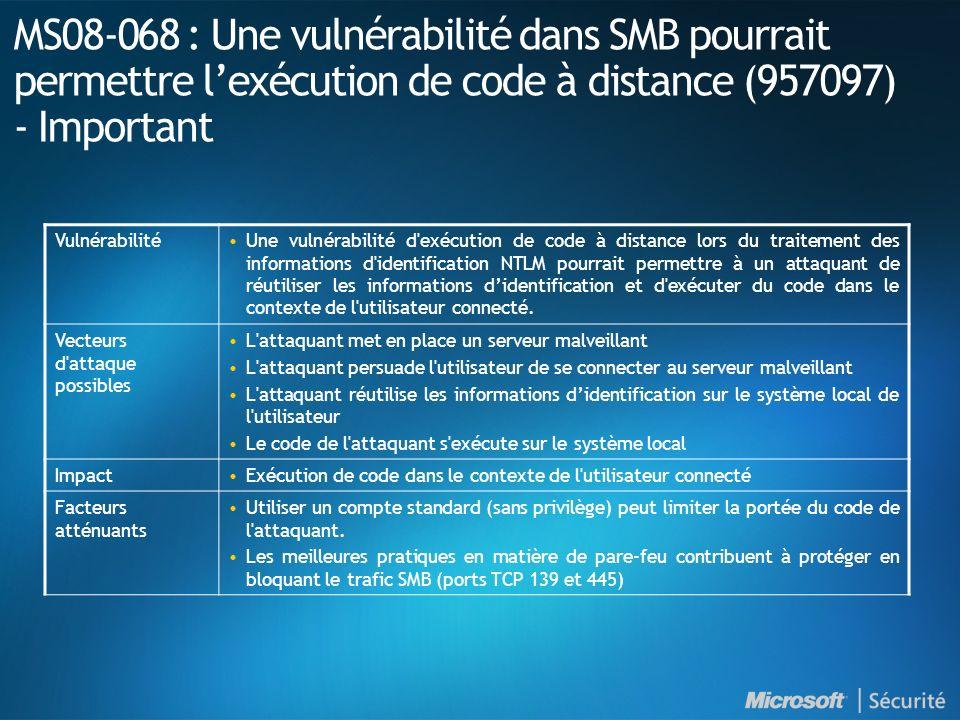MS08-068 : Une vulnérabilité dans SMB pourrait permettre lexécution de code à distance (957097) - Important VulnérabilitéUne vulnérabilité d exécution de code à distance lors du traitement des informations d identification NTLM pourrait permettre à un attaquant de réutiliser les informations didentification et d exécuter du code dans le contexte de l utilisateur connecté.