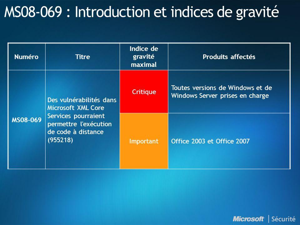 MS08-069 : Introduction et indices de gravité NuméroTitre Indice de gravité maximal Produits affectés MS08-069 Des vulnérabilités dans Microsoft XML Core Services pourraient permettre l exécution de code à distance (955218) Critique Toutes versions de Windows et de Windows Server prises en charge ImportantOffice 2003 et Office 2007