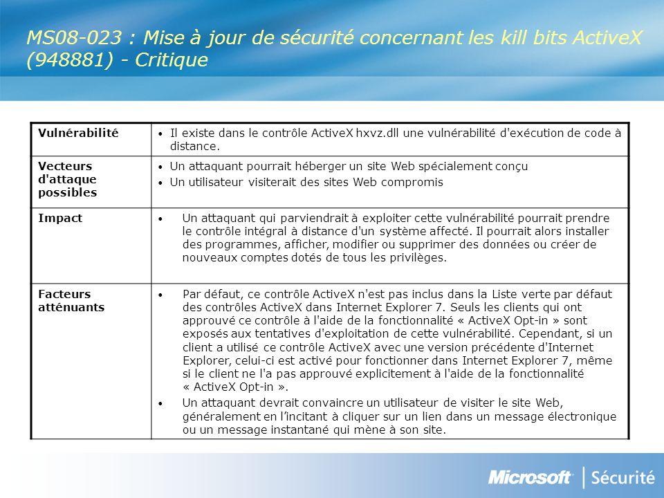 MS08-023 : Mise à jour de sécurité concernant les kill bits ActiveX (948881) - Critique Vulnérabilité Il existe dans le contrôle ActiveX hxvz.dll une vulnérabilité d exécution de code à distance.