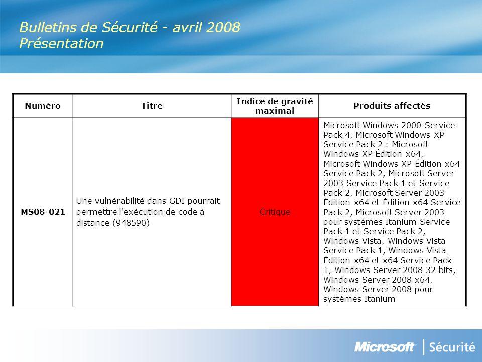 MS08-019 : Des vulnérabilités dans Microsoft Visio pourraient permettre lexécution de code à distance (949032) - Important Vulnérabilité Il existe une vulnérabilité d exécution de code à distance liée à la façon dont Microsoft Visio valide les données d en-tête des objets dans les fichiers spécialement conçus.