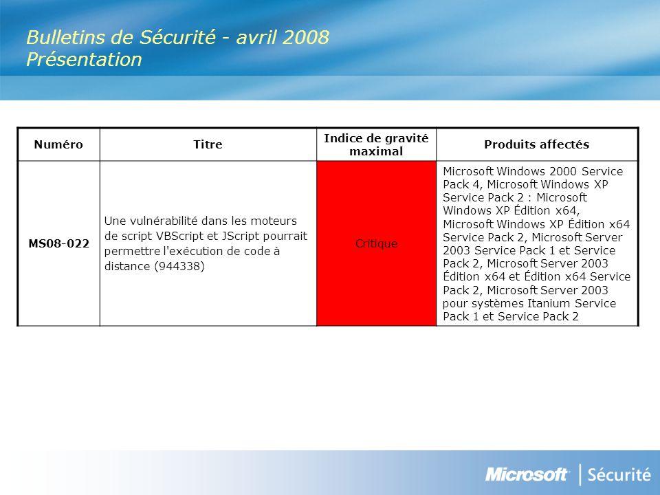 Ressources Webcast des Bulletins de sécurité Résumé des Bulletins de sécurité http://www.microsoft.com/france/technet/security/Bulletin/ms08-apr.mspx Bulletins de sécurité http://www.microsoft.com/france/technet/security/Bulletin Programme de conseils sécurité Microsoft : Glossaire http://www.microsoft.com/france/technet/security/Bulletin/glossary.mspx Avis de sécurité http://www.microsoft.com/france/technet/security/advisory Abonnez-vous à la synthèse des Bulletins de sécurité (en français) http://www.microsoft.com/france/securite/newsletters.mspx Blog du MSRC (Microsoft Security Response Center) http://blogs.technet.com/msrc TechNet Radio (en anglais) http://www.microsoft.com/tnradio Microsoft France sécurité http://www.microsoft.com/france/securite Lettres d information http://www.microsoft.com/france/securite/newsletters.mspx TechNet sécurité http://www.microsoft.com/france/technet/security
