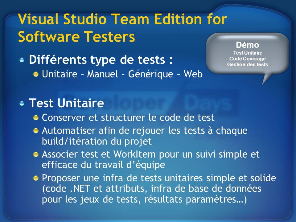 Visual Studio Team Edition for Software Testers Différents type de tests : Unitaire – Manuel – Générique – Web Test Unitaire Conserver et structurer le code de test Automatiser afin de rejouer les tests à chaque build/itération du projet Associer test et WorkItem pour un suivi simple et efficace du travail déquipe Proposer une infra de tests unitaires simple et solide (code.NET et attributs, infra de base de données pour les jeux de tests, résultats paramètres…) Démo Test Unitaire Code Coverage Gestion des tests
