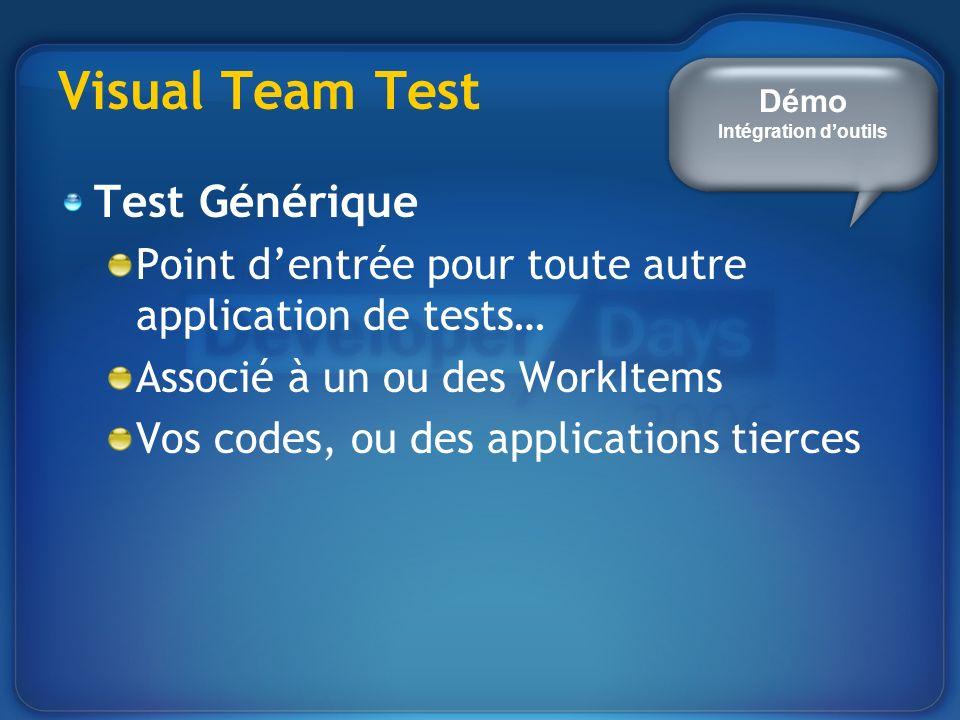 Visual Team Test Test Générique Point dentrée pour toute autre application de tests… Associé à un ou des WorkItems Vos codes, ou des applications tierces Démo Intégration doutils
