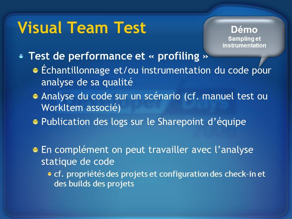 Visual Team Test Test de montée en charge « Enregistreur » WEB et infrastructure de gestion des scénarii Gestion des injecteurs Gestion des ramp up Gestion du paramétrage des requêtes Démo Montée en charge Paramétrage des scénarii