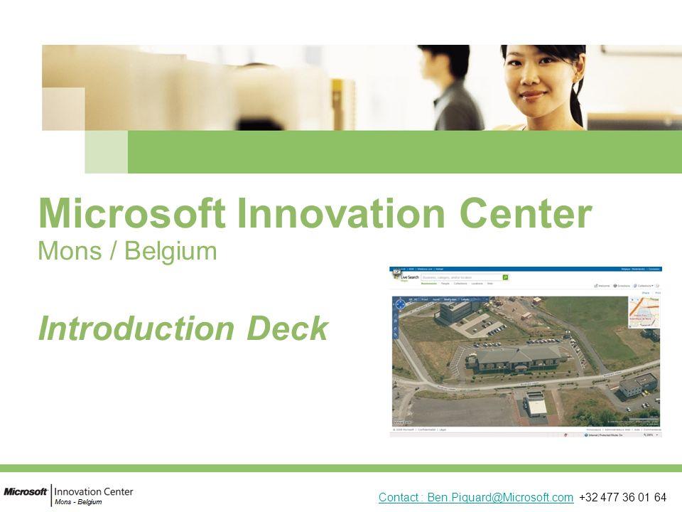 2 Elevator pitch : 5 points Joint Venture entre Région Wallonne, Msft et autres partenaires technologiques (HP, NRB, VOO, M*;UCM,…) But = encourager innovation technologique À travers ˗ Connaissances (conférences, cours, rencontres, Imagine Cup, liens avec Msft Research,…) ˗ Incubations de PME innovantes (LME/ BizSpark/…) ˗ Projets spéciaux « powered by MIC » = facilitateur (Gestion publiques et citoyens (CSP) / Employee HR / …) ˗ Espace accessible à lécosystème « innovation » (extra)régional Thèmes: Santé, Nvx Média (internet, TV, Mobile,…), Conseil scientifique