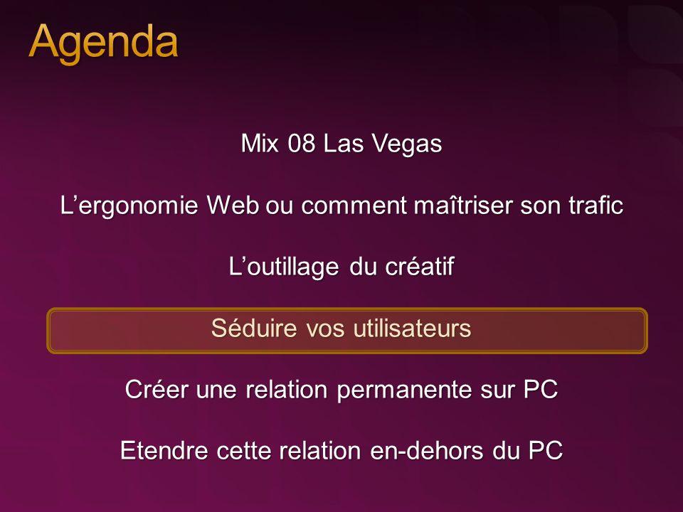 Mix 08 Las Vegas Lergonomie Web ou comment maîtriser son trafic Loutillage du créatif Séduire vos utilisateurs Créer une relation permanente sur PC Et