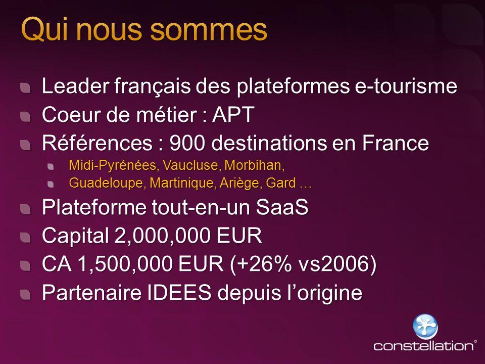 Leader français des plateformes e-tourisme Coeur de métier : APT Références : 900 destinations en France Midi-Pyrénées, Vaucluse, Morbihan, Guadeloupe