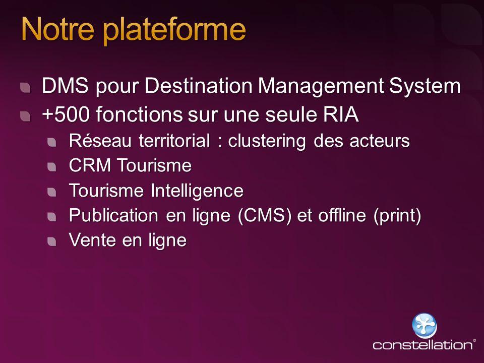 DMS pour Destination Management System +500 fonctions sur une seule RIA Réseau territorial : clustering des acteurs CRM Tourisme Tourisme Intelligence
