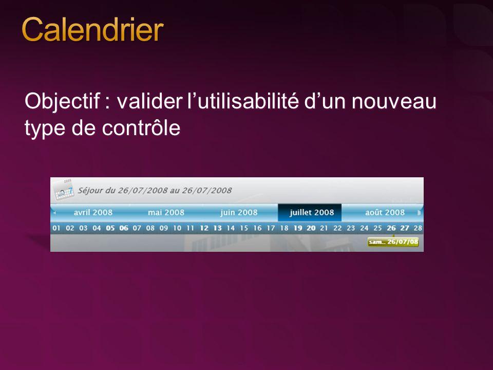 Objectif : valider lutilisabilité dun nouveau type de contrôle