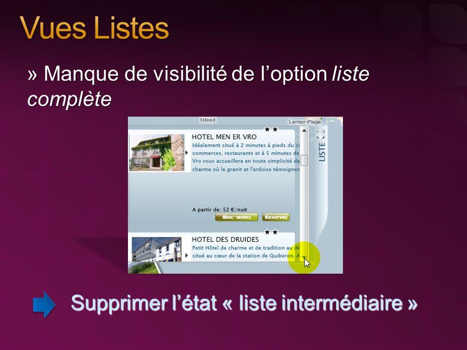 » Manque de visibilité de loption liste complète Supprimer létat « liste intermédiaire »