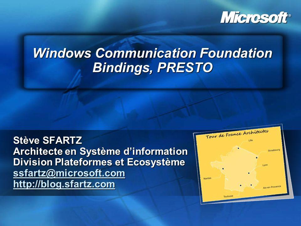 Windows Communication Foundation Bindings, PRESTO Stève SFARTZ Architecte en Système dinformation Division Plateformes et Ecosystème ssfartz@microsoft.com http://blog.sfartz.com