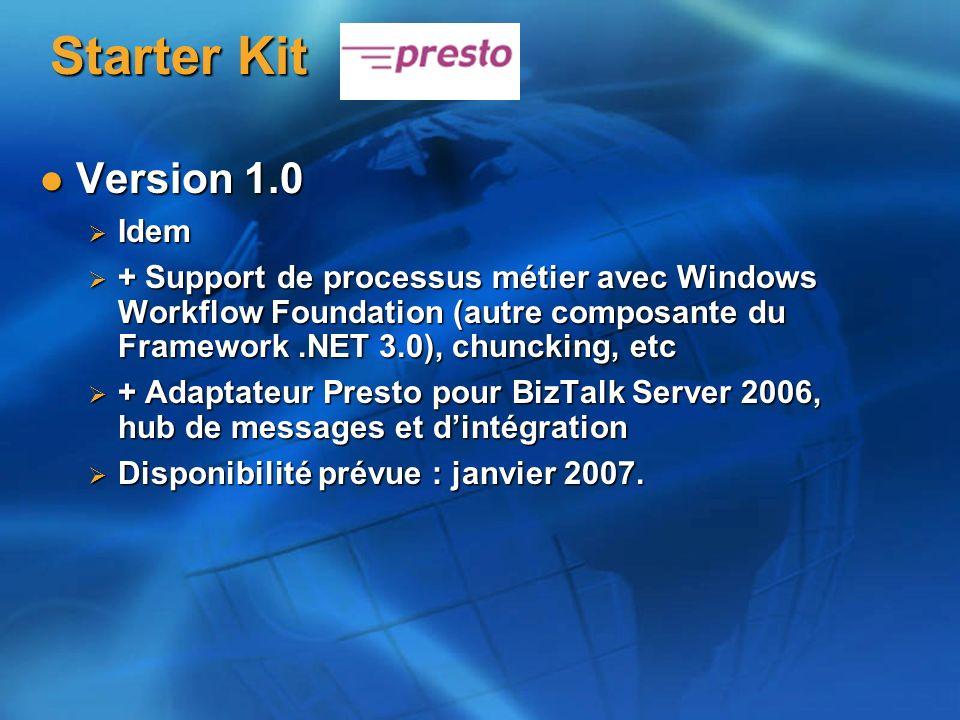 Version 1.0 Version 1.0 Idem Idem + Support de processus métier avec Windows Workflow Foundation (autre composante du Framework.NET 3.0), chuncking, etc + Support de processus métier avec Windows Workflow Foundation (autre composante du Framework.NET 3.0), chuncking, etc + Adaptateur Presto pour BizTalk Server 2006, hub de messages et dintégration + Adaptateur Presto pour BizTalk Server 2006, hub de messages et dintégration Disponibilité prévue : janvier 2007.