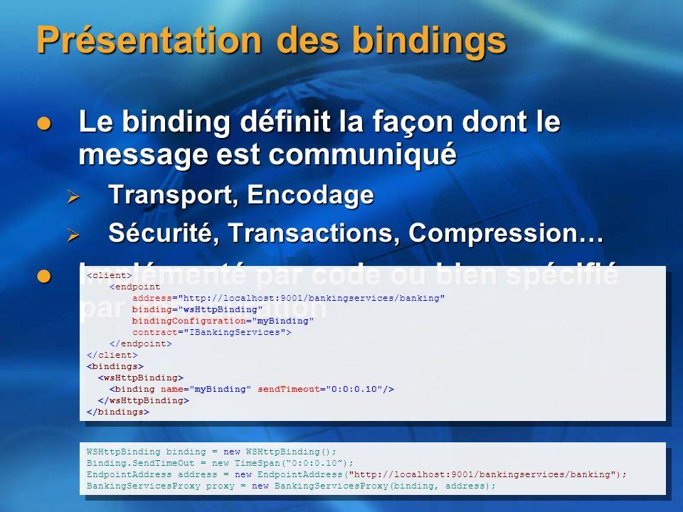 Présentation des bindings Le binding définit la façon dont le message est communiqué Le binding définit la façon dont le message est communiqué Transport, Encodage Transport, Encodage Sécurité, Transactions, Compression… Sécurité, Transactions, Compression… Implémenté par code ou bien spécifié par configuration Implémenté par code ou bien spécifié par configuration <endpoint address= http://localhost:9001/bankingservices/banking binding= wsHttpBinding bindingConfiguration= myBinding contract= IBankingServices > <endpoint address= http://localhost:9001/bankingservices/banking binding= wsHttpBinding bindingConfiguration= myBinding contract= IBankingServices > WSHttpBinding binding = new WSHttpBinding(); Binding.SendTimeOut = new TimeSpan(0:0:0.10); EndpointAddress address = new EndpointAddress( http://localhost:9001/bankingservices/banking ); BankingServicesProxy proxy = new BankingServicesProxy(binding, address); WSHttpBinding binding = new WSHttpBinding(); Binding.SendTimeOut = new TimeSpan(0:0:0.10); EndpointAddress address = new EndpointAddress( http://localhost:9001/bankingservices/banking ); BankingServicesProxy proxy = new BankingServicesProxy(binding, address);