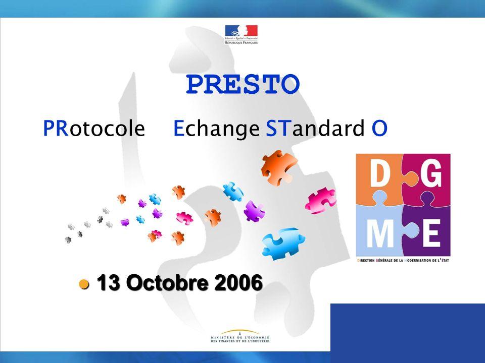 PRESTO PRotocole dEchange STandard Ouvert 13 Octobre 2006 13 Octobre 2006