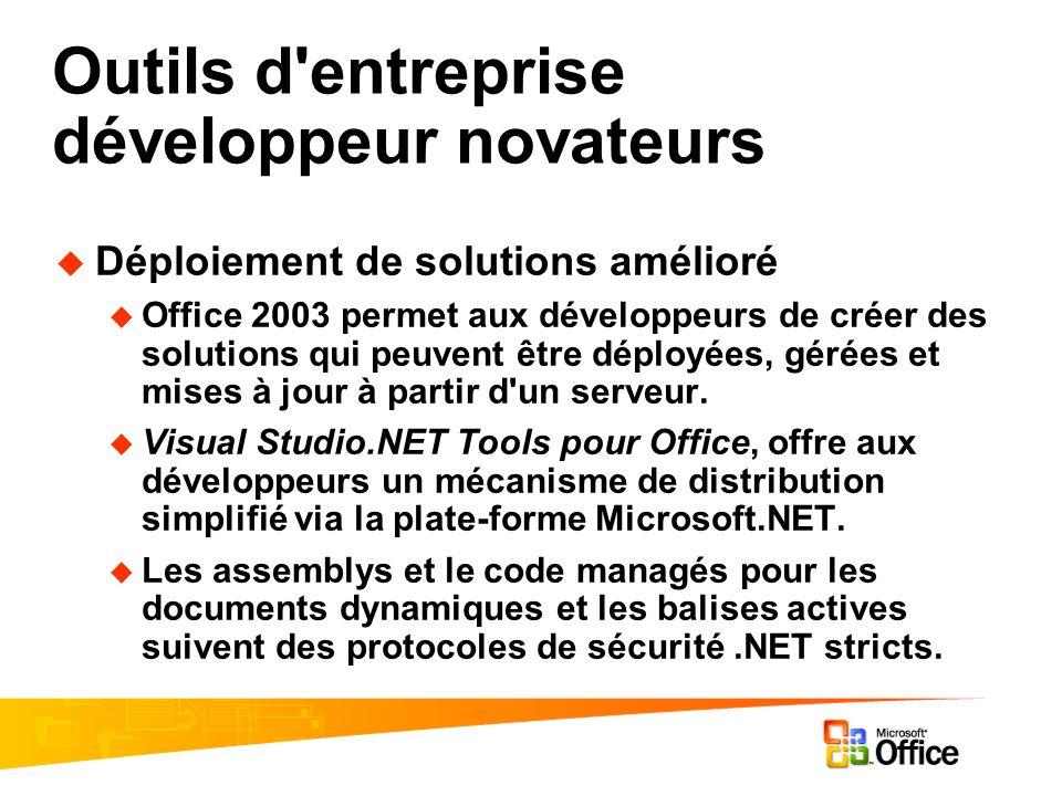 Outils d entreprise développeur novateurs Déploiement de solutions amélioré Office 2003 permet aux développeurs de créer des solutions qui peuvent être déployées, gérées et mises à jour à partir d un serveur.