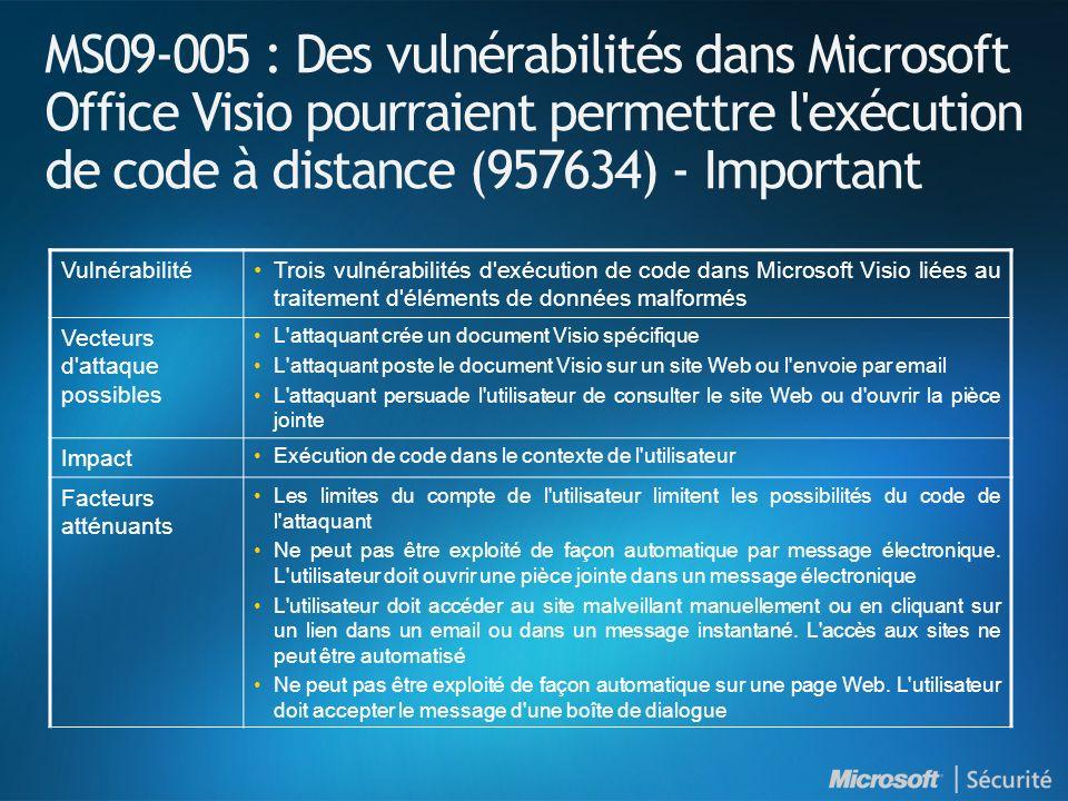 MS09-005 : Des vulnérabilités dans Microsoft Office Visio pourraient permettre l exécution de code à distance (957634) - Important VulnérabilitéTrois vulnérabilités d exécution de code dans Microsoft Visio liées au traitement d éléments de données malformés Vecteurs d attaque possibles L attaquant crée un document Visio spécifique L attaquant poste le document Visio sur un site Web ou l envoie par email L attaquant persuade l utilisateur de consulter le site Web ou d ouvrir la pièce jointe Impact Exécution de code dans le contexte de l utilisateur Facteurs atténuants Les limites du compte de l utilisateur limitent les possibilités du code de l attaquant Ne peut pas être exploité de façon automatique par message électronique.