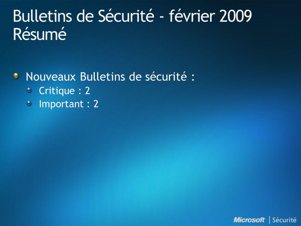 Bulletins de Sécurité - février 2009 Résumé Nouveaux Bulletins de sécurité : Critique : 2 Important : 2