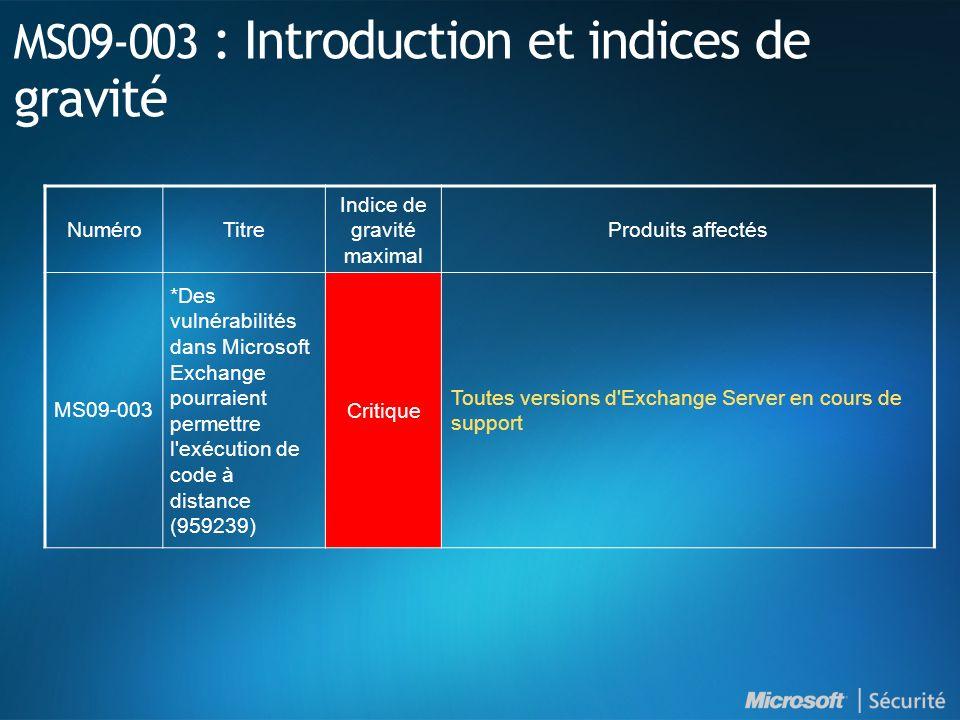 MS09-003 : Des vulnérabilités dans Microsoft Exchange pourraient permettre l exécution de code à distance (959239) - Critique VulnérabilitéUne vulnérabilité d exécution de code Une vulnérabilité de déni de service Vecteurs d attaque possibles Un attaquant envoie un message au format TNEF spécialement conçu à un serveur Exchange.
