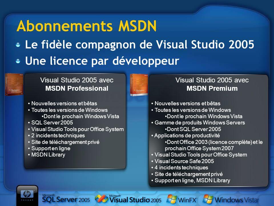 Abonnements MSDN Nouvelles versions et bêtas Toutes les versions de Windows Dont le prochain Windows Vista SQL Server 2005 Visual Studio Tools pour Of
