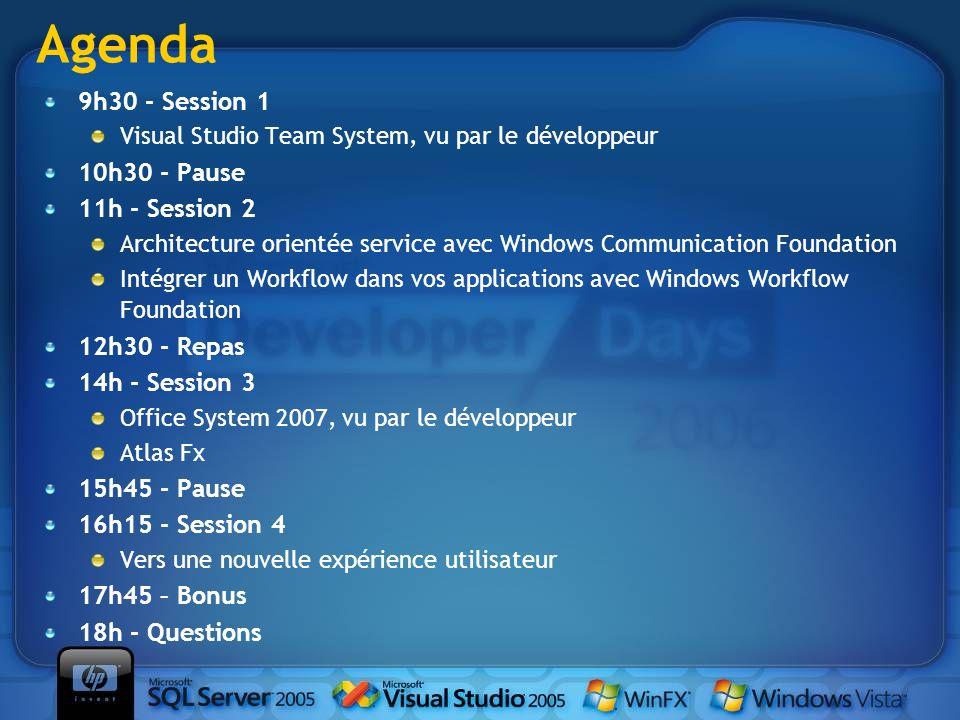 9h30 - Session 1 Visual Studio Team System, vu par le développeur 10h30 - Pause 11h - Session 2 Architecture orientée service avec Windows Communicati