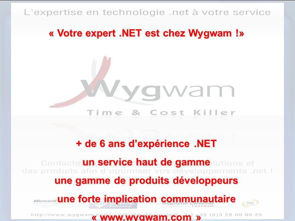 « Votre expert.NET est chez Wygwam !» + de 6 ans dexpérience.NET un service haut de gamme une gamme de produits développeurs une forte implication communautaire « www.wygwam.com »