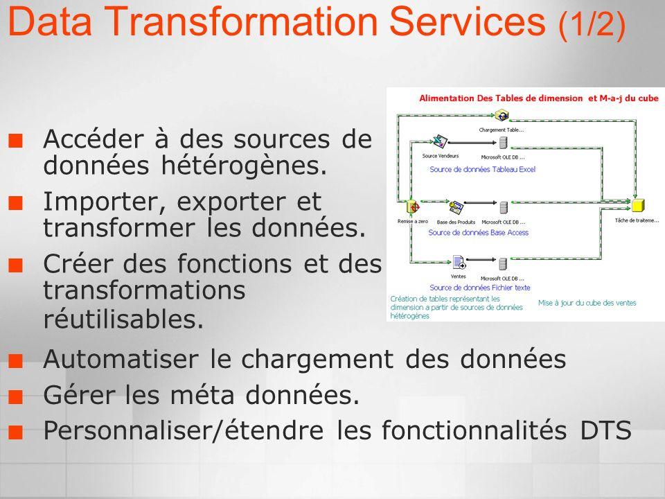 Data Transformation Services (1/2) Accéder à des sources de données hétérogènes.