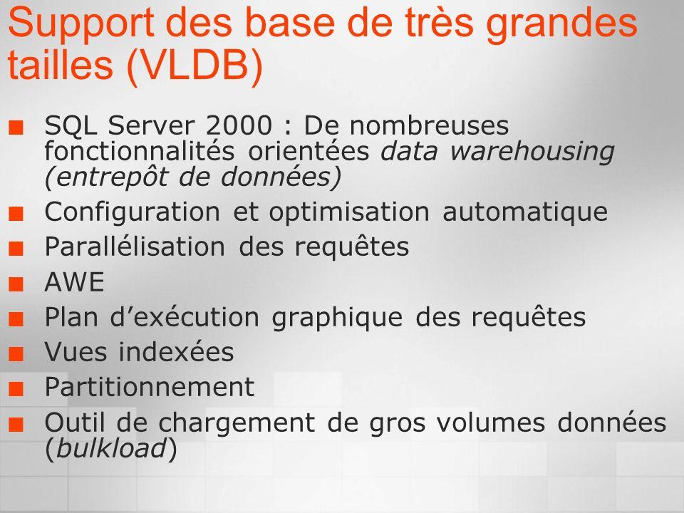 Support des base de très grandes tailles (VLDB) SQL Server 2000 : De nombreuses fonctionnalités orientées data warehousing (entrepôt de données) Configuration et optimisation automatique Parallélisation des requêtes AWE Plan dexécution graphique des requêtes Vues indexées Partitionnement Outil de chargement de gros volumes données (bulkload)