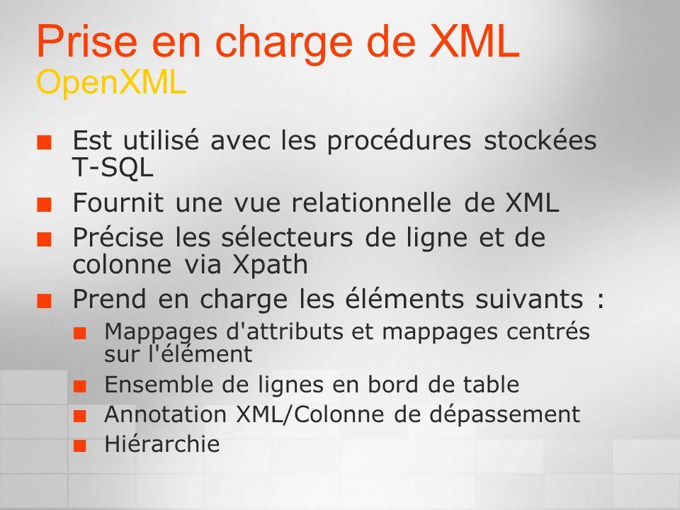 Prise en charge de XML OpenXML Est utilisé avec les procédures stockées T-SQL Fournit une vue relationnelle de XML Précise les sélecteurs de ligne et de colonne via Xpath Prend en charge les éléments suivants : Mappages d attributs et mappages centrés sur l élément Ensemble de lignes en bord de table Annotation XML/Colonne de dépassement Hiérarchie