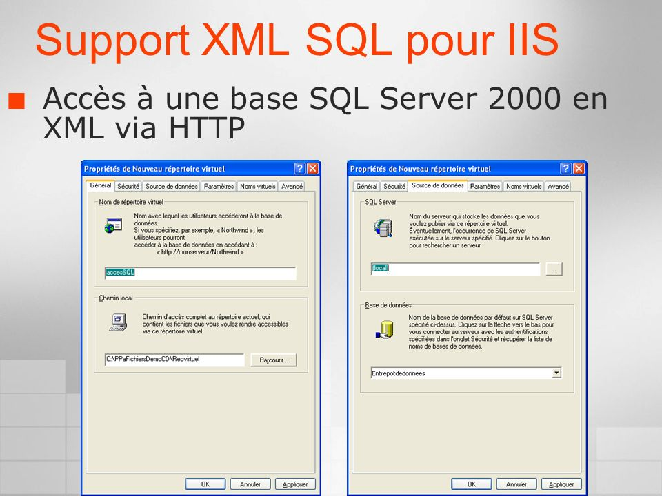 Support XML SQL pour IIS Accès à une base SQL Server 2000 en XML via HTTP