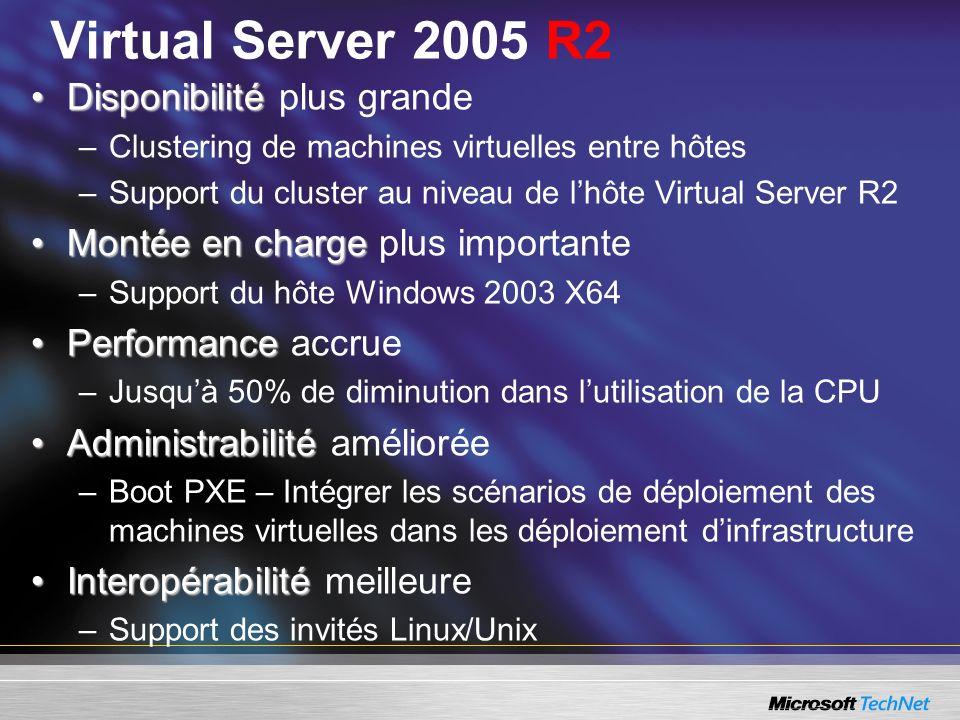 Virtual Server 2005 R2 DisponibilitéDisponibilité plus grande –Clustering de machines virtuelles entre hôtes –Support du cluster au niveau de lhôte Vi