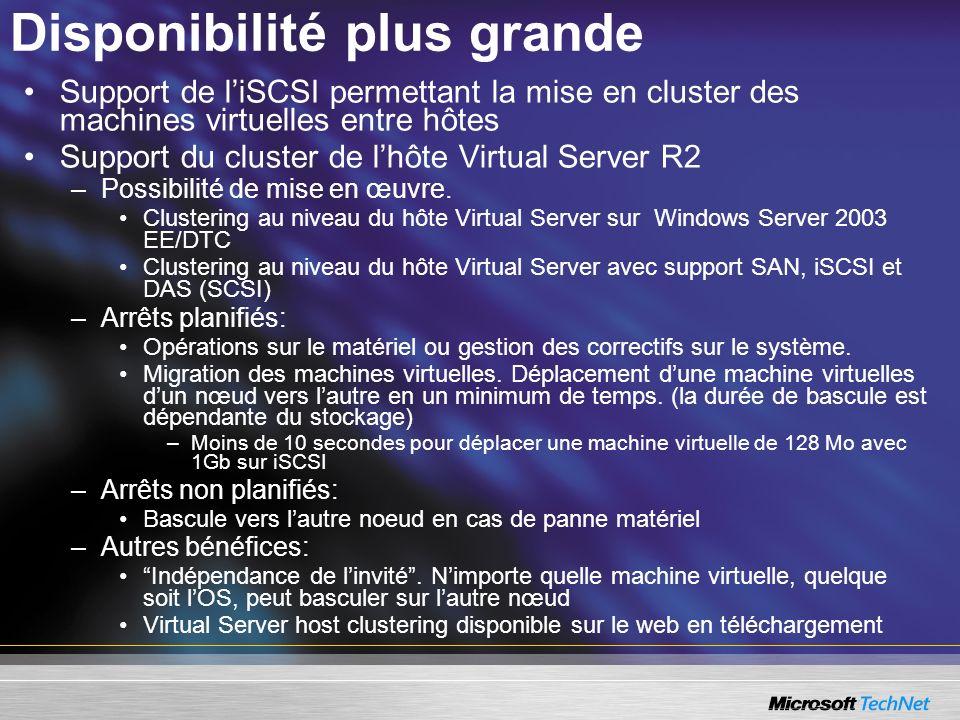 Disponibilité plus grande Support de liSCSI permettant la mise en cluster des machines virtuelles entre hôtes Support du cluster de lhôte Virtual Server R2 –Possibilité de mise en œuvre.