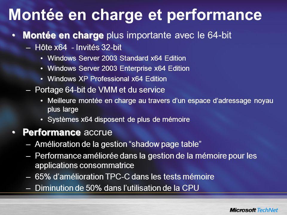 Montée en charge et performance Montée en chargeMontée en charge plus importante avec le 64-bit –Hôte x64 - Invités 32-bit Windows Server 2003 Standar