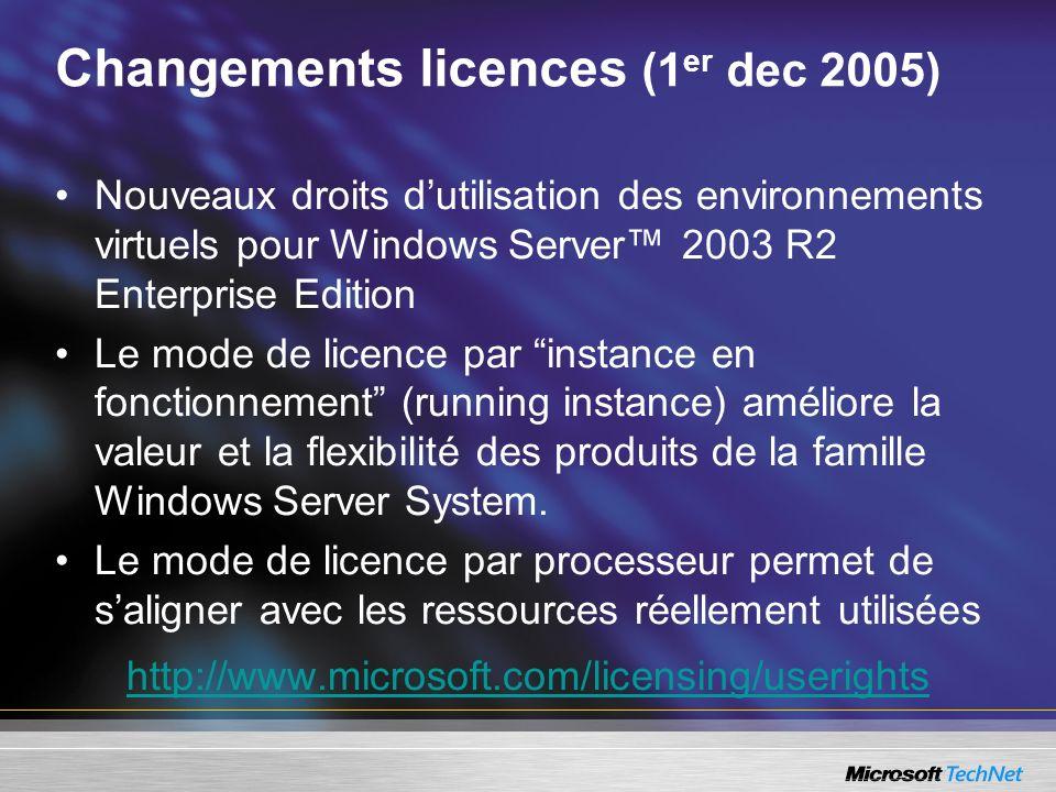 Changements licences (1 er dec 2005) Nouveaux droits dutilisation des environnements virtuels pour Windows Server 2003 R2 Enterprise Edition Le mode de licence par instance en fonctionnement (running instance) améliore la valeur et la flexibilité des produits de la famille Windows Server System.