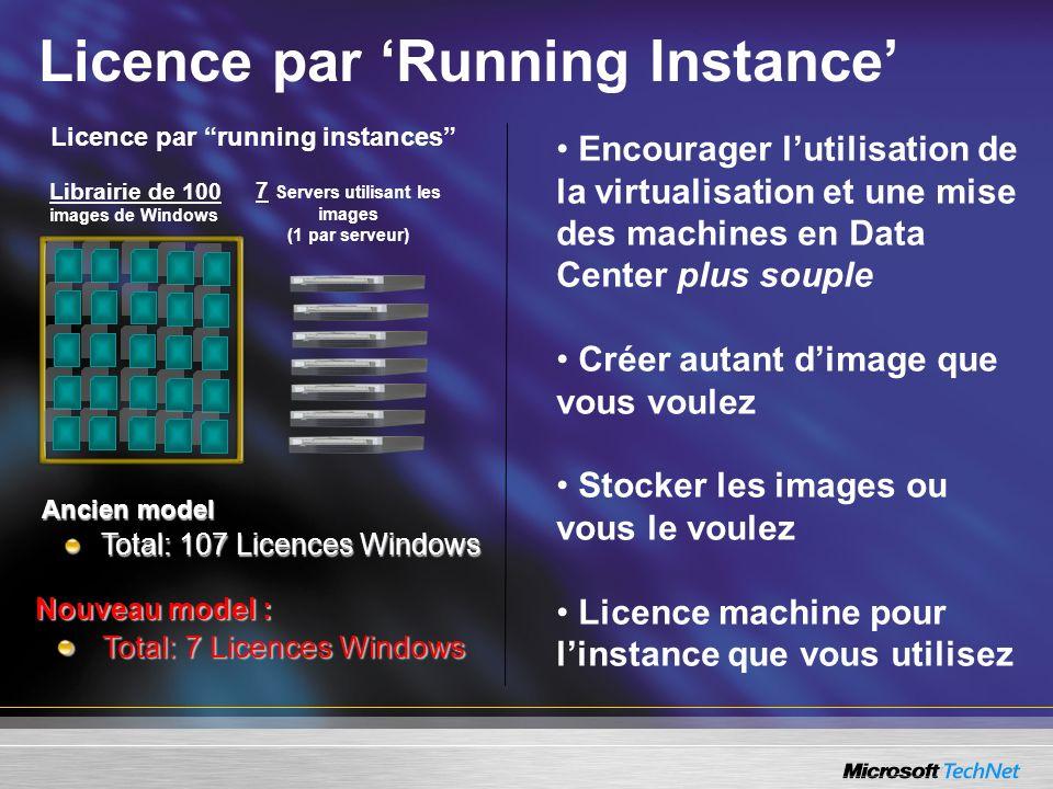Librairie de 100 images de Windows 7 Servers utilisant les images (1 par serveur) Licence par Running Instance Licence par running instances Ancien mo
