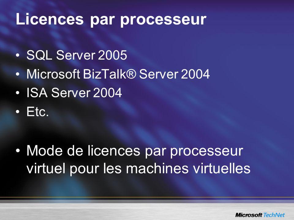 Licences par processeur SQL Server 2005 Microsoft BizTalk® Server 2004 ISA Server 2004 Etc. Mode de licences par processeur virtuel pour les machines
