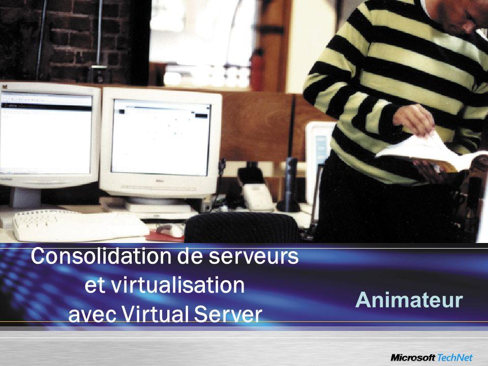 Virtual Server 2005 R2 Autres améliorations –Correction de bugs –Amélioration du support de lHyperthreading –Disquette F6 (driver SCSI) –Virtual disk pre-compactor –Ouverture des ports nécessaires lors de linstallation –Espace réservé pour les états sauvegardés saved states