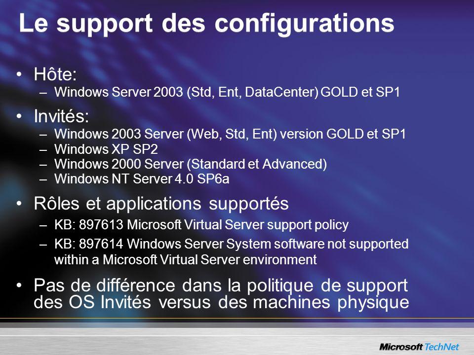 Le support des configurations Hôte: –Windows Server 2003 (Std, Ent, DataCenter) GOLD et SP1 Invités: –Windows 2003 Server (Web, Std, Ent) version GOLD