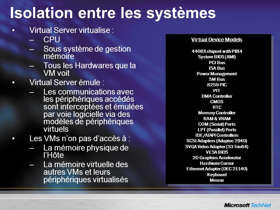 Isolation entre les systèmes Virtual Server virtualise : –CPU –Sous système de gestion mémoire –Tous les Hardwares que la VM voit Virtual Server émule : –Les communications avec les périphériques accédés sont interceptées et émulées par voie logicielle via des modèles de périphériques virtuels Les VMs non pas daccès à : –La mémoire physique de lHôte –La mémoire virtuelle des autres VMs et leurs périphériques virtualisés Virtual Device Models 440BX chipset with PIIX4 System BIOS (AMI) PCI Bus ISA Bus Power Management SM Bus 8259 PIC PIT DMA Controller CMOS RTC Memory Controller RAM & VRAM COM (Serial) Ports LPT (Parallel) Ports IDE/ATAPI Controllers SCSI Adapters (Adaptec 2940) SVGA Video Adapter (S3 Trio64) VESA BIOS 2D Graphics Accelerator Hardware Cursor Ethernet Adapter (DEC 21140) Keyboard Mouse Virtual Device Models 440BX chipset with PIIX4 System BIOS (AMI) PCI Bus ISA Bus Power Management SM Bus 8259 PIC PIT DMA Controller CMOS RTC Memory Controller RAM & VRAM COM (Serial) Ports LPT (Parallel) Ports IDE/ATAPI Controllers SCSI Adapters (Adaptec 2940) SVGA Video Adapter (S3 Trio64) VESA BIOS 2D Graphics Accelerator Hardware Cursor Ethernet Adapter (DEC 21140) Keyboard Mouse