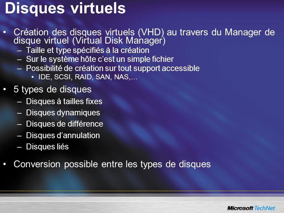 Disques virtuels Création des disques virtuels (VHD) au travers du Manager de disque virtuel (Virtual Disk Manager) –Taille et type spécifiés à la création –Sur le système hôte cest un simple fichier –Possibilité de création sur tout support accessible IDE, SCSI, RAID, SAN, NAS,… 5 types de disques –Disques à tailles fixes –Disques dynamiques –Disques de différence –Disques dannulation –Disques liés Conversion possible entre les types de disques