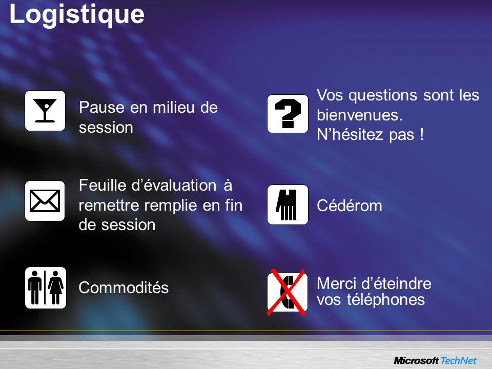 Logistique Pause en milieu de session Vos questions sont les bienvenues.