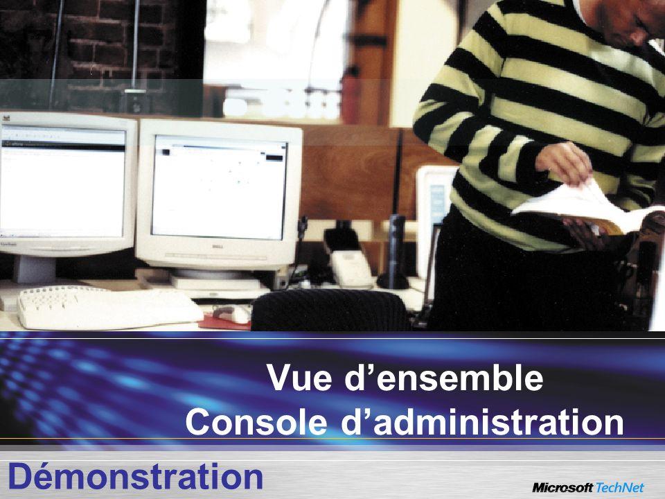 Vue densemble Console dadministration Démonstration