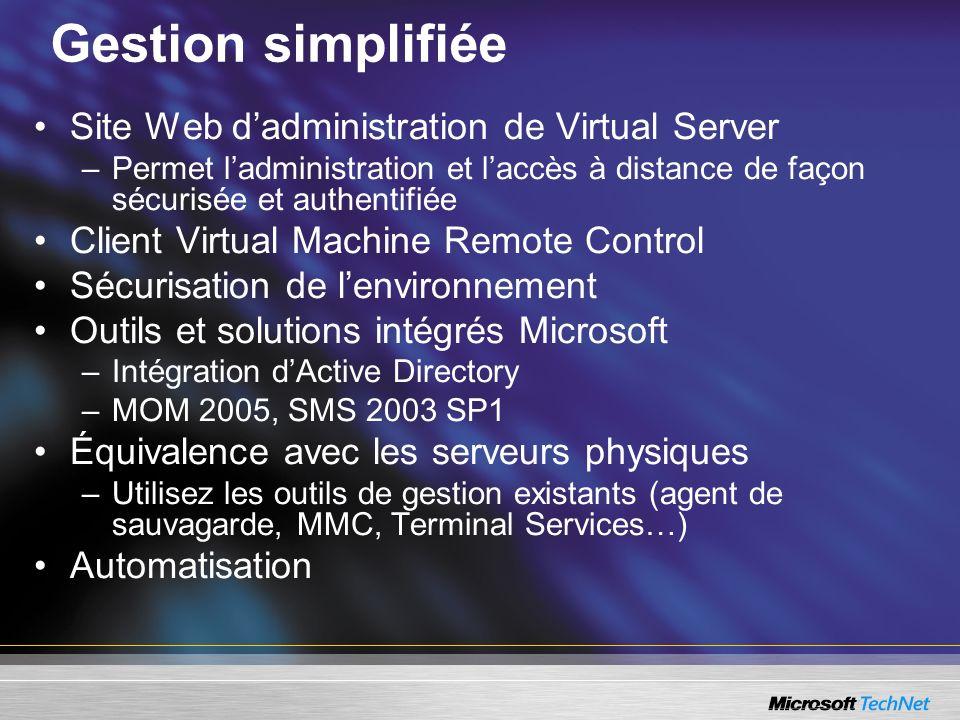 Gestion simplifiée Site Web dadministration de Virtual Server –Permet ladministration et laccès à distance de façon sécurisée et authentifiée Client V