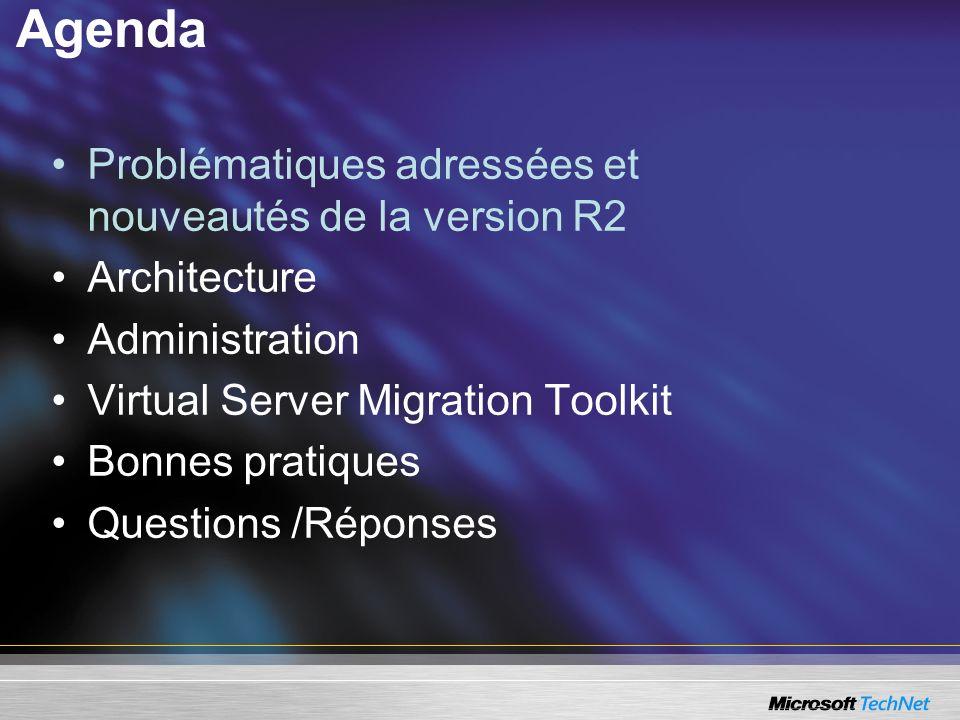 Agenda Problématiques adressées et nouveautés de la version R2 Architecture Administration Virtual Server Migration Toolkit Bonnes pratiques Questions /Réponses