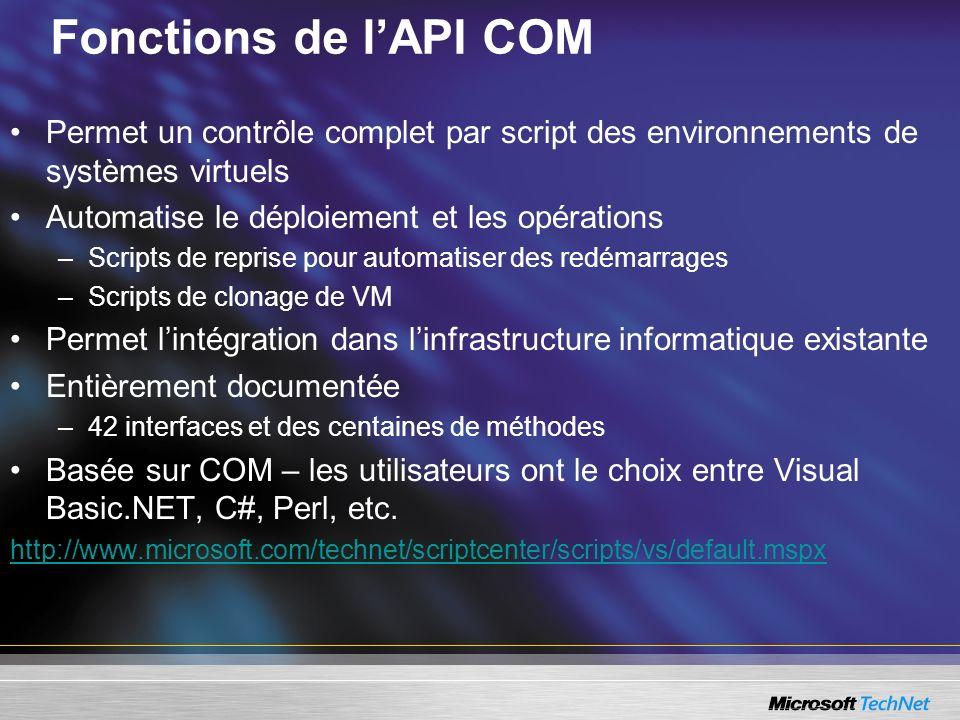 Fonctions de lAPI COM Permet un contrôle complet par script des environnements de systèmes virtuels Automatise le déploiement et les opérations –Scripts de reprise pour automatiser des redémarrages –Scripts de clonage de VM Permet lintégration dans linfrastructure informatique existante Entièrement documentée –42 interfaces et des centaines de méthodes Basée sur COM – les utilisateurs ont le choix entre Visual Basic.NET, C#, Perl, etc.