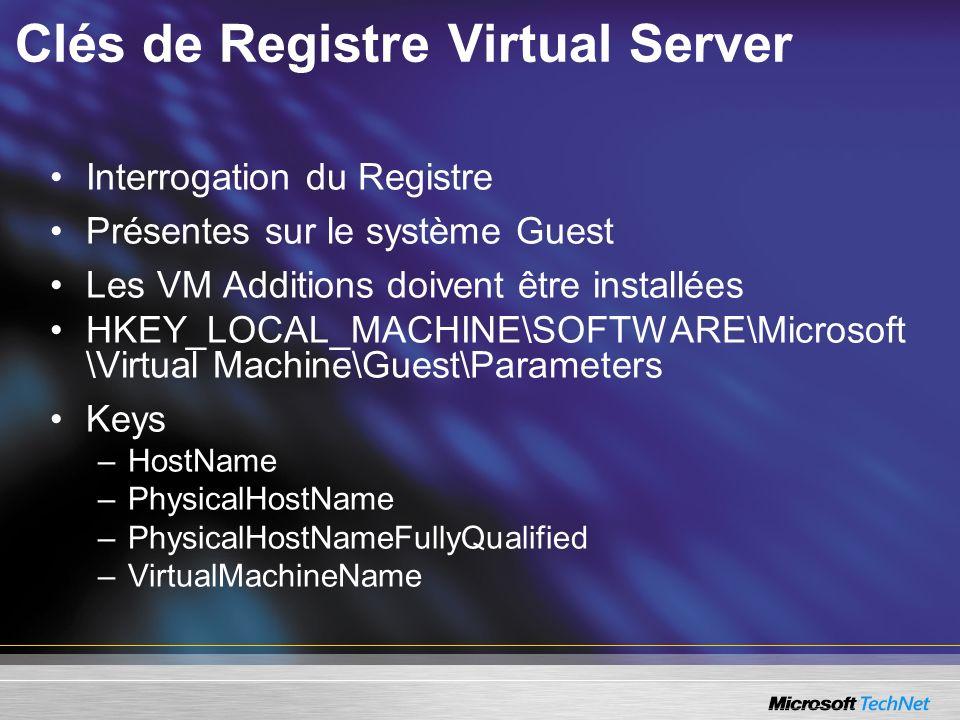 Clés de Registre Virtual Server Interrogation du Registre Présentes sur le système Guest Les VM Additions doivent être installées HKEY_LOCAL_MACHINE\S